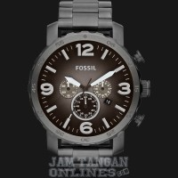 Jam Tangan Pria Fossil JR1401 Nate Chronograph Black Stainless Steel