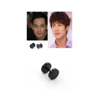 Anting Cowok Stud Bulat Hitam Ear Piercing Round Black