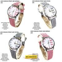 jam tangan wanita canvas strap line 234 full set hitam Citra