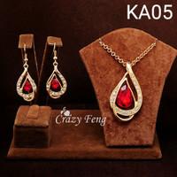 Jual Set Perhiasan Kalung Anting Drop Lapis Emas Ka05 Murah