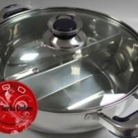 harga 28 cm Suki Shabu Stainless Pot + Divider / Panci Shabu Sekat Glass Lid Tokopedia.com