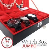 Jual Exclusive Watch Box With Lock | Kotak Tempat Jam Tangan Hitam Merah Murah
