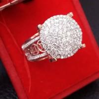 Cincin Fashion Berlian Eropa Tabur Ikat Emas Putih Kombinasi Rose gold