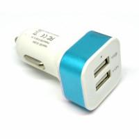 Square Head Dual USB Car Charger 2.1A - White/Blue
