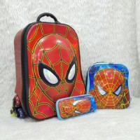Jual Tas Troli Anak Fiber Kpl Spiderman 3in1 6Roda Murah