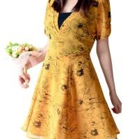 FOREVER 21 Flower Mustard Dress / Dress Branded