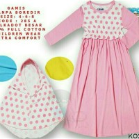 3-9 tahun Gamis dress katun adem Big Polkadot brand Leeva