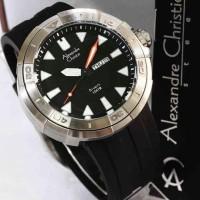jam tangan alexandre christie ac 6427 diver rubber silver original