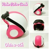 Helm Retro kacamata anak ( helm pororo ) warna pink putih