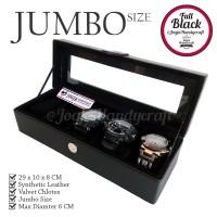 Jual [JUMBO] Kotak Jam Tangan Isi 5 | Tempat Jam Tangan JUMBO - Full Black Murah