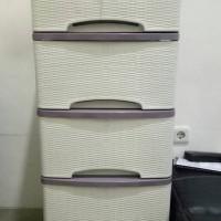 Jual lemari pakaian murah 5 susun motif rotan (putih) Murah