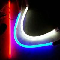 LED DRL Flexible 30CM Lampu Alis neon Motor Mobil putih biru