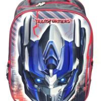 [GL392] Tas Troley Sekolah ANak Transformer 3D Timbul Hard Cover Blue
