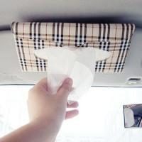 car holder tissue motif LV (coklat kotak-kotak) Car Vehicle Sun visor