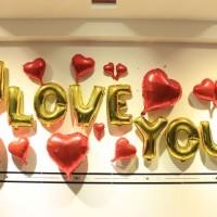 Balon Foil Huruf I Love You warna Gold