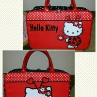 Travel Bag Kanvas Hello Kitty Kepik Merah