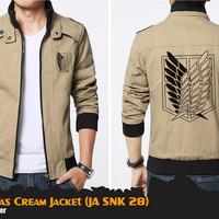 Jual Jaket Anime Attack On Titan SNK Canvas Cream Jacket (JA SNK 28) Murah