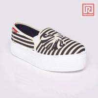 Ramayana - Sepatu Wanita Slip On Putih-hitam By Jj Shoes (07894157)
