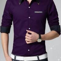 [Aliando purple AK] kemeja pria katun ungu