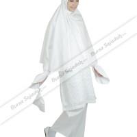 Stelan Busana Wanita Muslim Jilbab Warna Putih - Ihrom Latifah Sykava