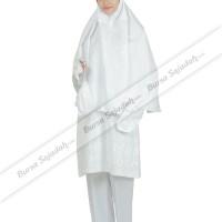 Stelan Busana Wanita Muslim Jilbab Warna Putih - Ihrom Nadhira Sykava