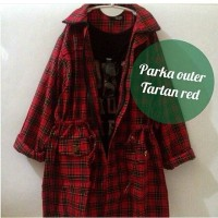 Baju Wanita Murah Terbaru Parka Outer Flanel Red