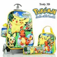 Jual Tas Trolley Anak Pokemon 3D 4in1 Set Murah