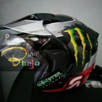 harga Helm GHM Semi-Cross Double Visor Motif Monster Energy,bukan INK,KYT Tokopedia.com