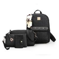 Jual Tas Ransel Wanita Import A1662 Black 4 In 1 Backpack Murah