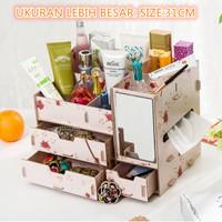 Rak kosmetik  bahan kayu (bercermin dan kotak tissue ) Desktop s