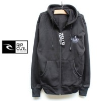 Jaket fleece rip curl Zipper hoodie hitam #oris_sport.co / Distro BDG
