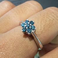 Cincin berlian biru / blue diamond 0,35 ct Ikat Perak Handmade