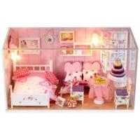 Jual Dollhouse DIY Kamar Pengantin Plus Lampu LED & Akrilik 21x10x12cm OL Murah