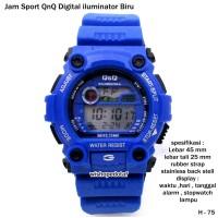 jam tangan sport QnQ digital iluminator biru full set