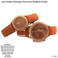 jam tangan kulit couple pasangan swiss army ringtime coklat full set