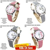 jam tangan wanita canvas strap line 234 full set hitam #Ellers