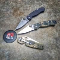 Spyderco Paramilitary Satin Blade Knife Camo / Black Handle