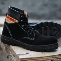 Cut Engineer Shoes Xone Iron Safety Boots Suede Leather - Hitam