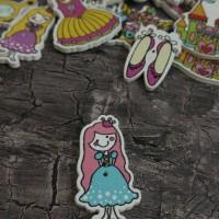 Kancing kayu cartoon princess mix
