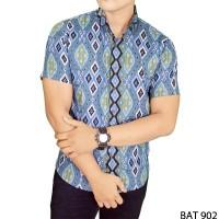 harga Baju Slimfit Batik Pria Pendek Katun Biru  BAT 902 Tokopedia.com