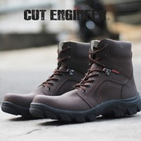 Cut Engineer Safety Boots Iron Fosfor Leather - Coklat