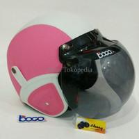 Helm Retro Kaca Bogo Asli Classy Warna Pink Putih Terlaris Diskon