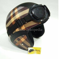 Helm Retro Asli Classy Warna Burbery Coklat Muda Google Lokal