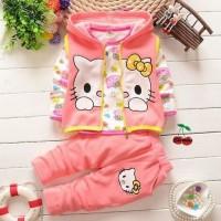 harga jaket hoodie anak hello kitty + baju + celana panjang anak perempuan Tokopedia.com
