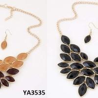 Jual Set Kalung & Anting oval gemstone jewerly sets YA3535 Murah