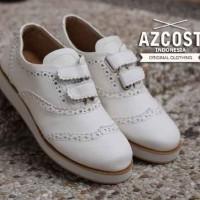 Sepatu Wanita Flat Shoes ORIGINAL AZCOST Wingtip Slipon White