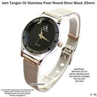 Jam tangan CK stainless pasir round  silver full set-hitam 25 mm