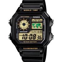 harga casio AE1200WH-1b jam tangan pria original garansi 1 kotak hitam Tokopedia.com