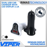 Dual USB Car Charger with LED Display 2.1A - Mobil