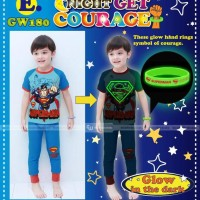 Baju Tidur Anak ( Piyama ) Glow In The Dark Superman +gelang